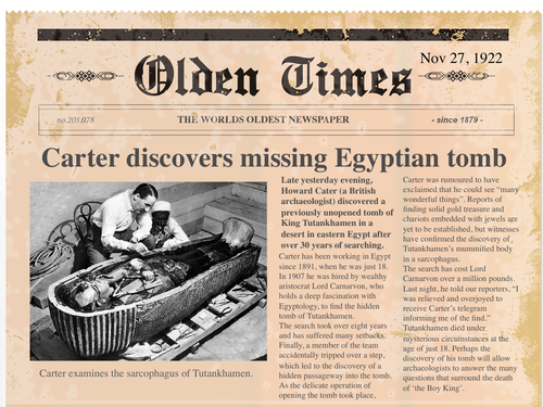 Carter discovers Tutankhamen's tomb news report
