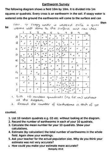 Quadrats - earthworm survey worksheet
