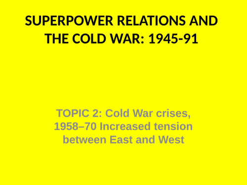 GCSE History Superpower Relations and the Cold War Knowledge Tests