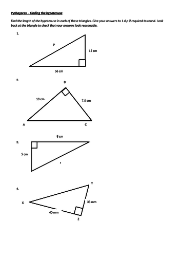Pythagoras - Finding the Hypotenuse Worksheet WITH ANSWERS