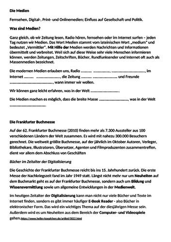 Revised Edexcel Year 12/13 German A-Level Topic: Die Medien