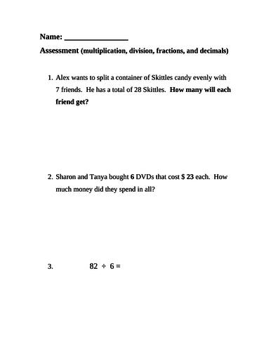 Grade 4 multiplication, division, fractions, decimals assessment