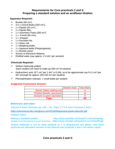 Edexcel chemistry Core practicals 2 and 3 standard solution and acid base titration