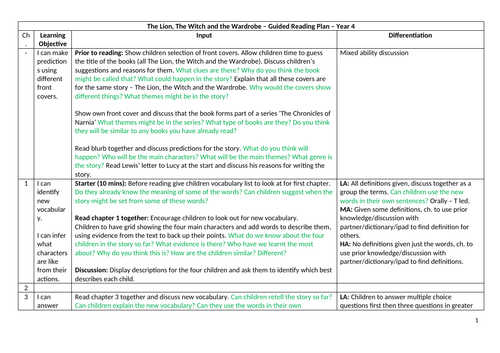 the lion the witch and the wardrobe plan and resources guided reading