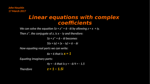 Linear equations with complex coefficients