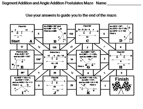 Segment Addition And Angle Addition Postulates Activity Math Maze