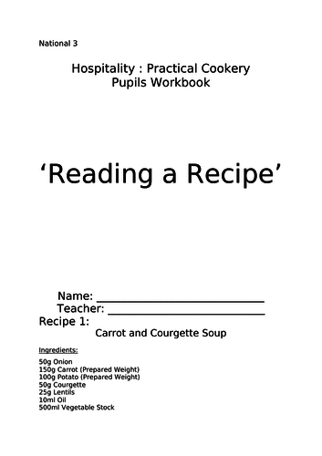 National 3, Reading Recipe Booklet
