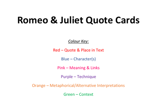 Romeo & Juliet Quote Cards