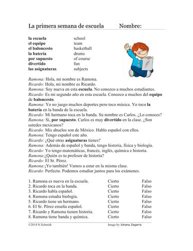 First Week of School Spanish Reading: Primera semana de escuela Lectura
