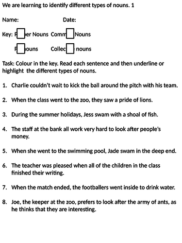 Introducing different types of nouns and verbs (Y4-Y5)