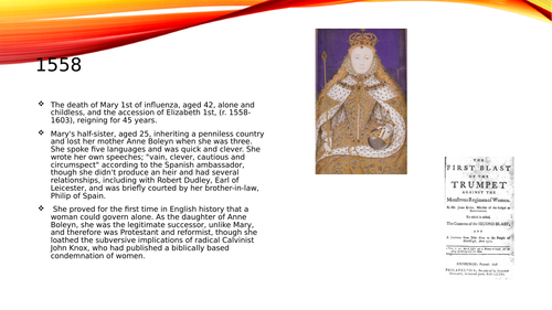 Powerpoint presentation on the reign of Elizabeth 1st.