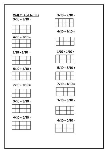 Adding tenths worksheet
