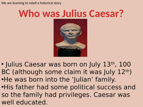 Julius Caesar for KS2 - Lesson PowerPoint with tasks