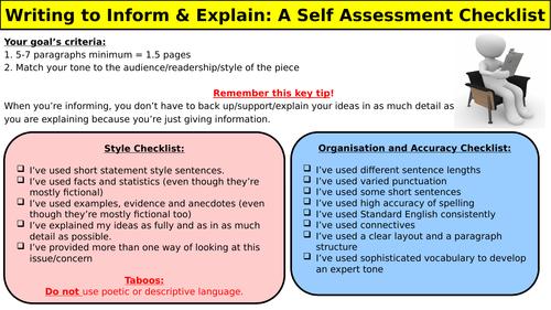 Writing to Inform & Explain : A Self Assessment Checklist