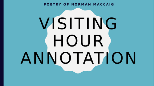 Norman MacCaig Scottish Text - Visiting Hour