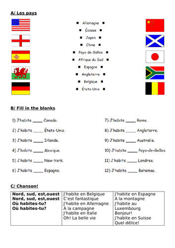 french where i live 5 worksheets for year 5 6 7