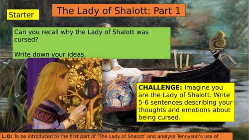 KS3 (7/8/9) The Lady of Shalott Part One
