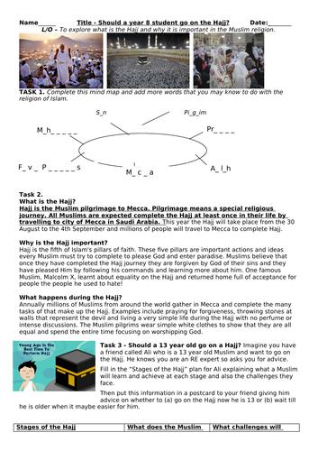Hajj - Islam - 5 Pillars - Worksheet - OBSERVATION / INTERVIEW LESSON
