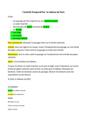 Y7 - Y8  activity: create your own Paris landscape picture frame - school vocab