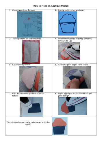 Learning Mat to remind pupils how to create Applique designs.