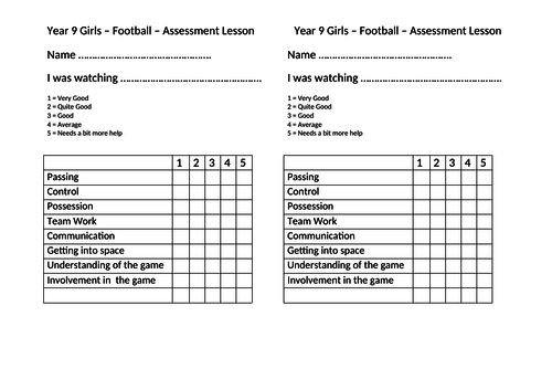 Football Assessment Sheet
