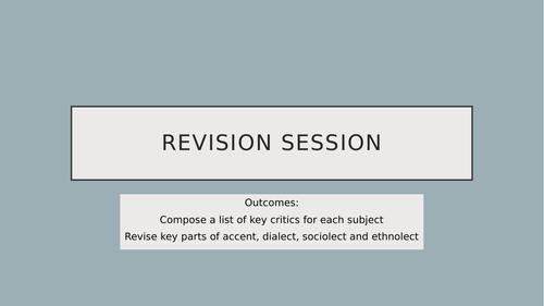 AQA English Language A Level Accent Revision