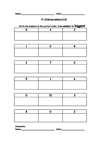 Ordering Numbers, biggest to smallest, or smallest to biggest for ...