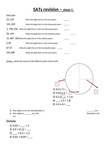 5 Maths SATs revision sheets for Homework