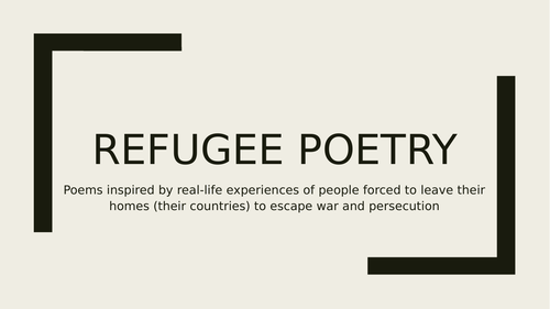 Refugee Poetry - Home