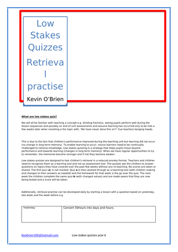Spring 1 low stakes quizzes for year 6