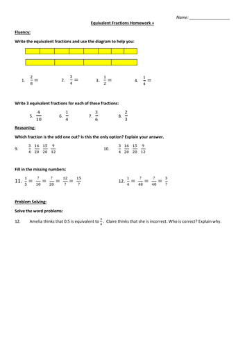 Differentiated Equivalent Fractions Homework