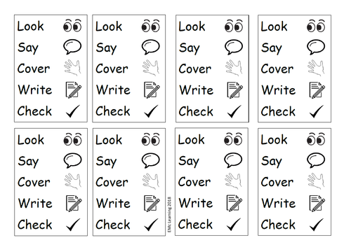Look Say Cover Write Check Book Labels