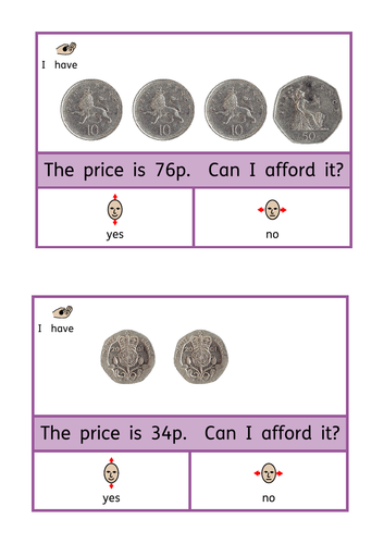 Can I afford it? Up to £1. Basic money sense / life skills peg cards. ASD/SEN