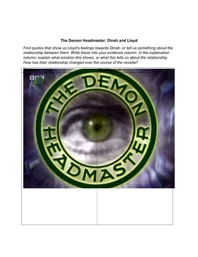 The Demon Headmaster: evidence and explanation chart (Dinah and Lloyd)