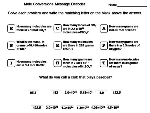 Mole Conversions (moles, mass, molecules) Worksheet: Chemistry ...