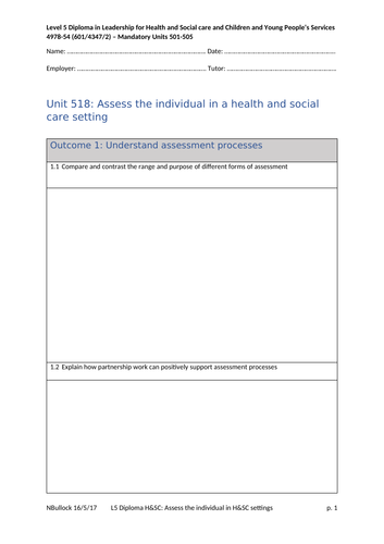 Level 5 H&SC: Unit 518 Assess the individual in a health and social care setting - workbook