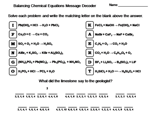 Balancing Chemical Equations Worksheet Chemistry Message Decoder Teaching Resources