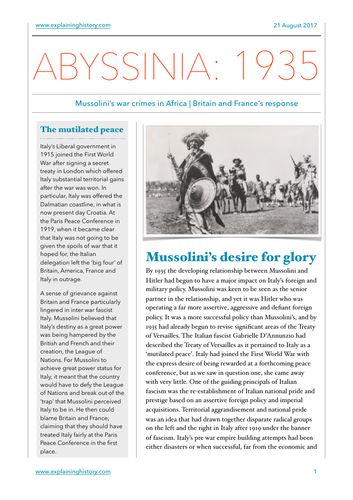 Mussolini and Abyssinia