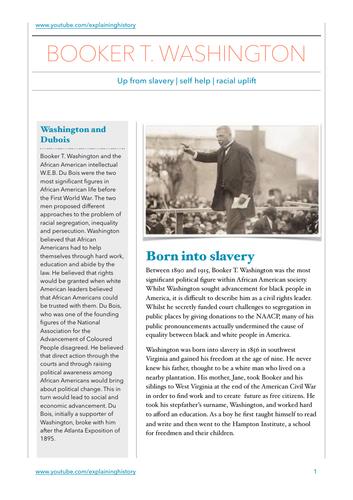 Booker T Washington Study Notes