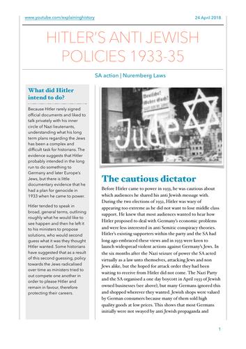 Hitler's Anti Jewish Laws 1933-35