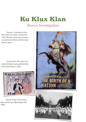 Ku Klux Klan Primary Source Investigation