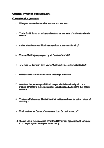 David Cameron: my war on multiculturalism (ARTICLE + COMPREHENSION QUESTIONS)