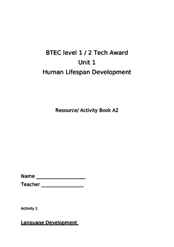Booklet to go with PPT unit 1 Human lifespan development NEW Tech Cert HSC  level 1/2