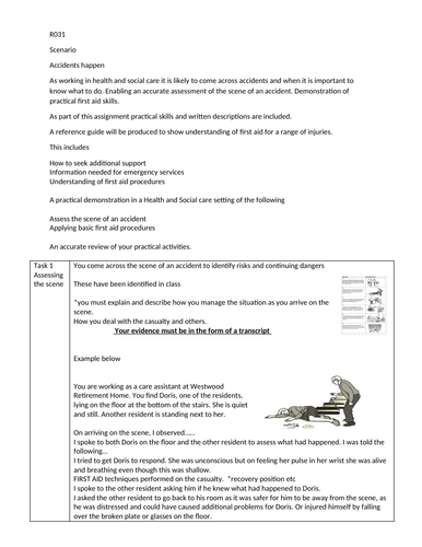 OCR cambridge nationals support document R031 first aid