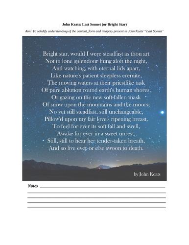 'Bright Star' sonnet (John Keats) - comprehension activities