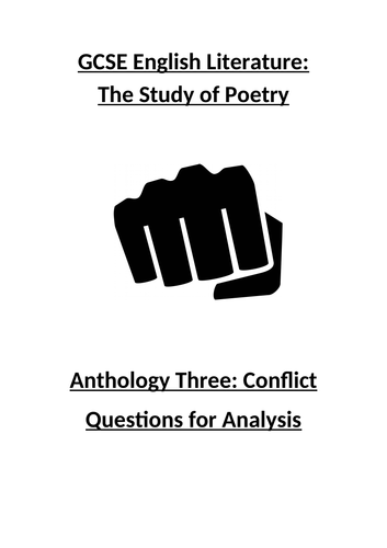 Conflict Poetry Anthology Workbook: Questions for Analysis / Context (CCEA GCSE English Literature)