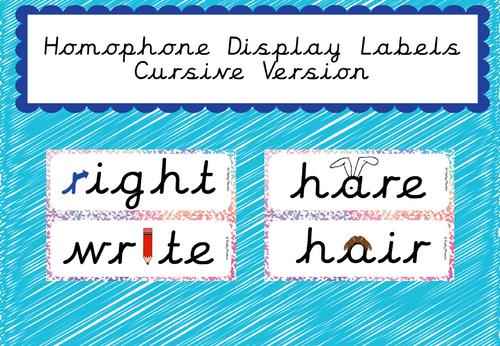 Homophone Display Labels (Cursive Version included)
