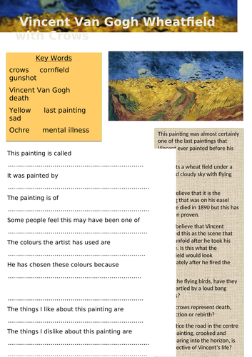 Vincent Van Gogh Wheatfield with Crows Question sheet & Extended Drawing