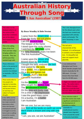 Australian History through Song: I Am Australian