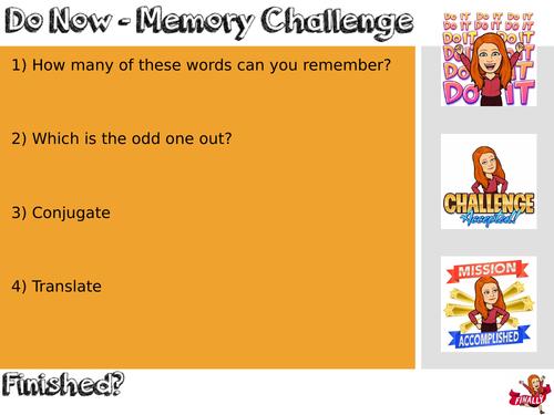 Do Now memory challenge